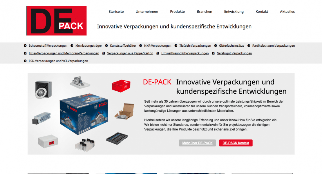 DE-PACK SEO Relaunch 2014
