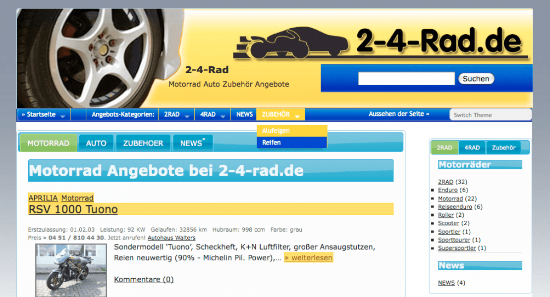 2-4-rad.de Website 2009