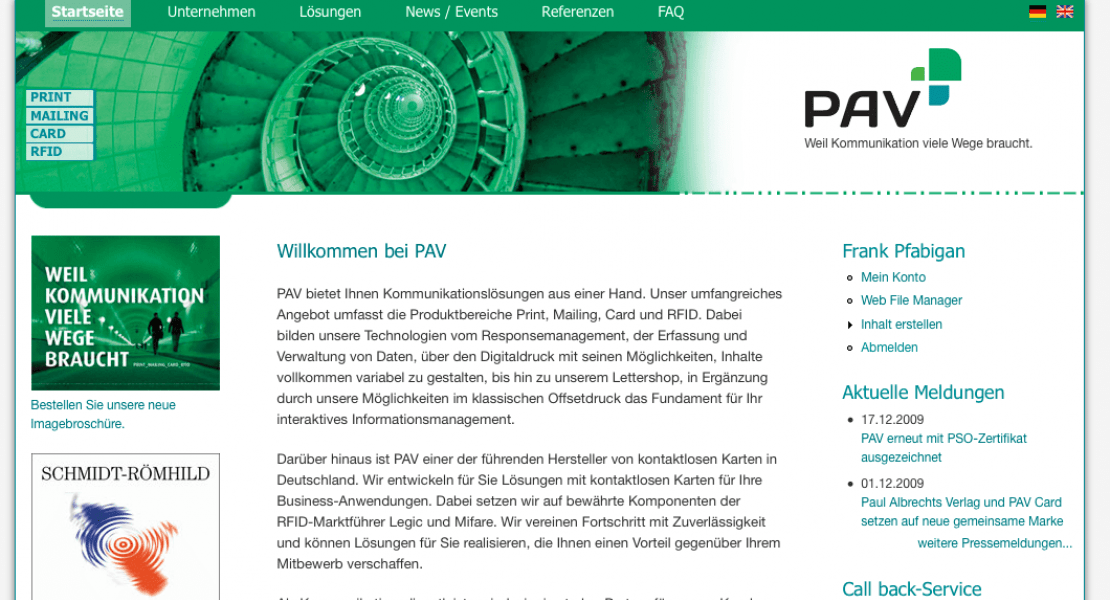 PAV Website Relaunch 2011